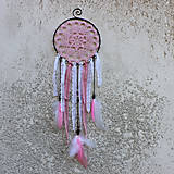 Dekorácie - Lapač snů růžový, větší - 9991577_