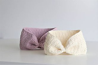 Detské čiapky - ...čelenka 100% MERINO vlna CREAMY WHITE - 9991280_