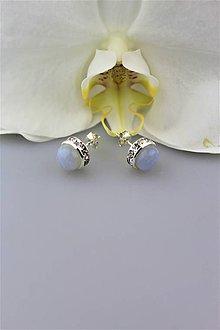 Náušnice - náušnice chalcedón napichovacie luxusné - 9989251_