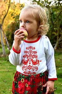 Detské oblečenie - Detské body s ľudovým motívom Jablonické vtáča - 9990692_