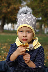 Detské čiapky - Hrejivý set s brmbolcom - 9991651_