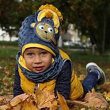 Detské čiapky - Hrejivý set s mackom - 9991925_