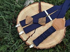 Doplnky - Pánsky drevený motýlik a traky - 9991477_