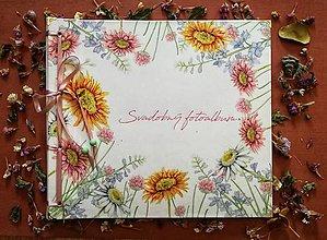 Papiernictvo - Fotoalbum klasický, polyetylénový obal s potlačou kvetinového venčeka a voliteľným textom - 9989791_