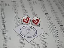 Doplnky - vyšívané manžetové gombíky červené Srdce - 9992532_