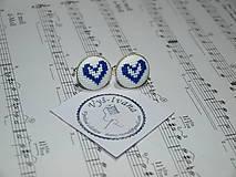 Doplnky - vyšívané manžetové gombíky Srdce modré - 9992585_