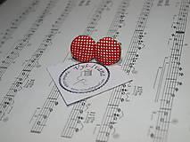 Doplnky - vyšívané manžetové gombíky červená Bodka - 9992592_