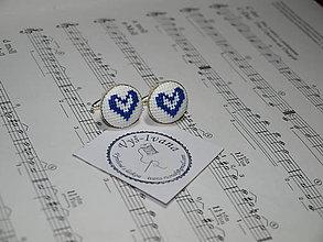 Doplnky - vyšívané manžetové gombíky červené Srdce (Modrá) - 9992544_
