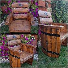 Nábytok - Rustikalne drevene kreslo sud - 9989838_