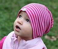 Detské čiapky - Detská celoročná merino čiapka ružový šmolko - 9989042_