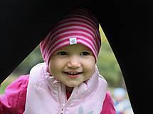 Detské čiapky - Detská celoročná merino čiapka ružový šmolko - 9989043_