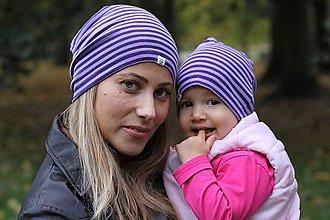 """Detské čiapky - Celoročné merino rodinné čiapočky """"Mama/Oco a ja"""" – v štyroch farbách - 9989036_"""