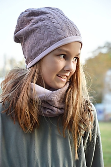 Čiapky - Bavlnený set teplejší Vrkoče & Old Violet - 9993316_