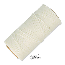 Galantéria - Linhasita voskovaná šnúrka na micro macramé, 1mm, bal.1klbko (168m), farebná škála č.1 (White) - 9993265_