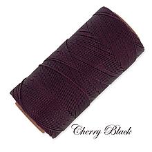 Galantéria - Linhasita voskovaná šnúrka na micro macramé, 1mm, bal.1klbko (168m), farebná škála č.1 (Cherry Black) - 9993278_