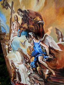 Obrazy - Reprodukcia - Pápež Klement I. vzýva najsv. Trojicu / olejomaľba / - 9991569_
