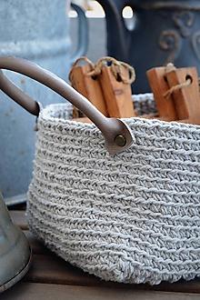 Košíky - Šedý košík s koženými rúčkami - 9992306_