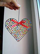 Dekorácie - srdiečko ♥ srdce (pestrofarebné) - 9994499_