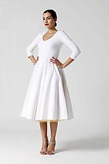 Šaty - Šaty Midi biele s véčkom (40) - 9996725_