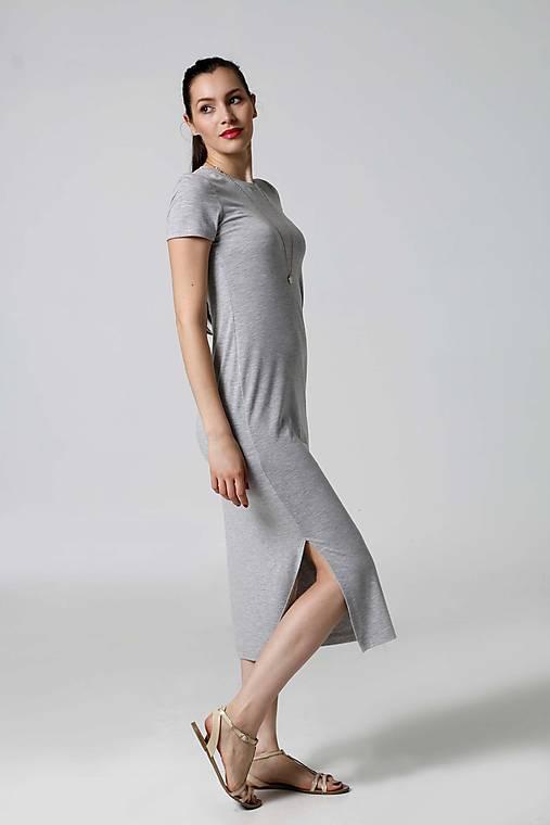 Šaty - Šaty Midi voľné s rázporkom - 9995545_