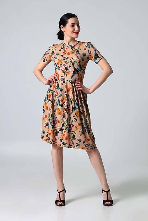 22c0f621c398 Šaty béžové s kvetinovým vzorom   ZuzanaZachar - SAShE.sk - Handmade ...