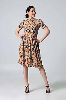 Šaty - Šaty béžové s kvetinovým vzorom - 9995838_