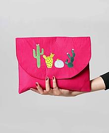 Kabelky - Kabelka listová veľká ružová kaktus - 9996624_