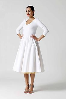 Šaty - Šaty Midi biele s véčkom - 9996725_