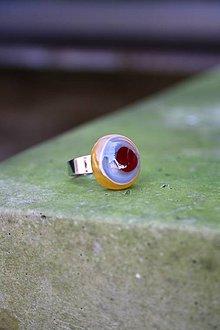 Prstene - Sklenený prsteň - Rybie očko 6 - 9994782_
