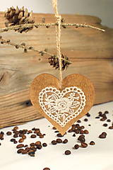 Dekorácie - Srdiečko s čipkou - 9996316_