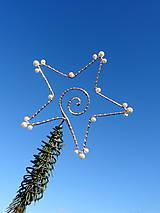 Dekorácie - hviezda Vianoc...špic na stromček (strieborný) - 9997277_