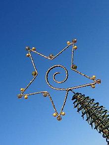 Dekorácie - hviezda Vianoc...špic na stromček 1 (zlatá) - 9997335_