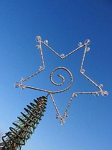 Dekorácie - hviezda Vianoc...špic na stromček 1 (strieborná s brúsenými korálkami) - 9997340_