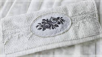 Úžitkový textil - White Rose uterák - 9996424_