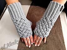 Rukavice - Sivé bezprstové rukavice - 9995088_