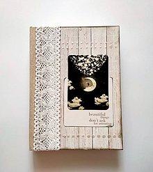 """Papiernictvo - Diár Ručne šitý sketchbook * zápisník ,,Moon"""" A5 - 9994779_"""