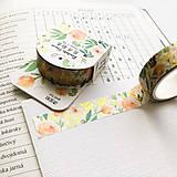 Papier - dekoračná washi páska Oranžovo-zlaté kvety, 15 mm x 7 m - 9993574_