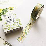 Papier - dekoračná washi páska Pozlátené lístky, 15 mm x 7 m - 9994209_