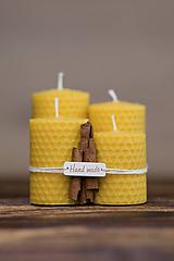 Svietidlá a sviečky - Sviečka zo 100% včelieho vosku - Točené hrubé - Žlté (variant A) - 9994878_