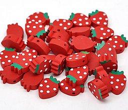 Korálky - KD151 Drevená korálka JAHODKA 2 x 1,4 cm - 9996128_