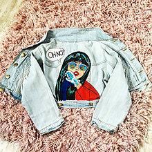 Kabáty - Ručne maľovaná riflová bunda popart - 9994551_