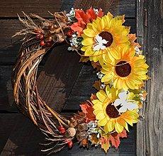 Dekorácie - Veniec jesenný - slnečnice - 9993709_