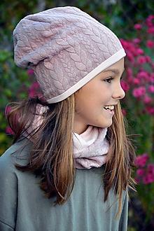Detské čiapky - Bavlnená čiapka  teplejšia Vrkoče & Old Violet - 9997408_