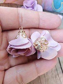 Polotovary - Textilné kvety, filigrán - pár (Fialová svetlá) - 9993806_