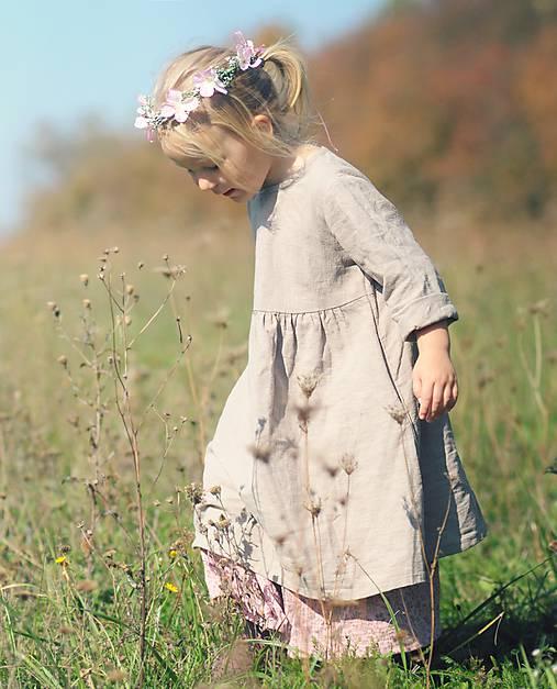 Detské oblečenie - Lněné šatičky Sand - 9993558_