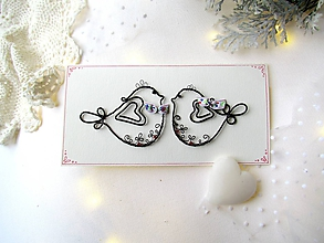 Papiernictvo - pohľadnica svadobná so stužkou - 9994139_