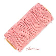 Galantéria - Linhasita voskovaná šnúrka na micro macramé, 1mm, bal.1klbko (168m), farebná škála č.1 (Saumon) - 9994017_