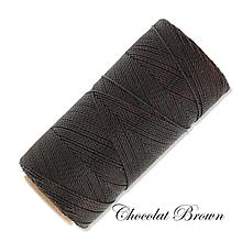 Galantéria - Linhasita voskovaná šnúrka na micro macramé, 1mm, bal.1klbko (168m), farebná škála č.3 (Chocolat Brown) - 9994528_