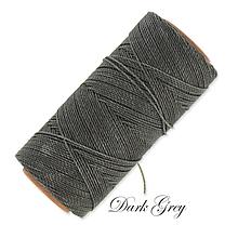 Galantéria - Linhasita voskovaná šnúrka na micro macramé, 1mm, bal.1klbko (168m), farebná škála č.3 (Dark Grey) - 9994607_