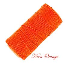 Galantéria - Linhasita voskovaná šnúrka na micro macramé, 1mm, bal.1klbko (168m), farebná škála č.3 (Neon Orange) - 9994657_